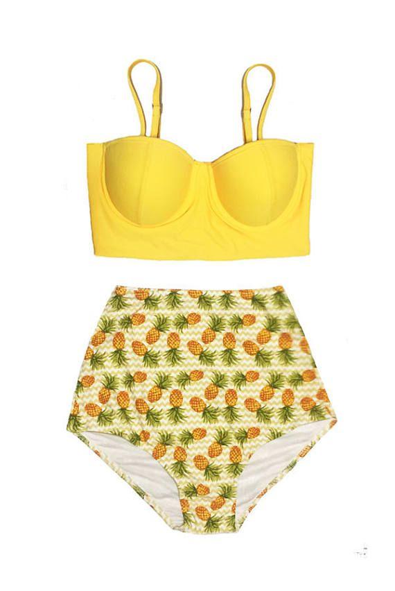 Handmade Women Bikini Swimsuit Swim Swimwear Bathing suit : Yellow Underwire Midkini Top and Pineapple High waist waisted Bottom S M L XL