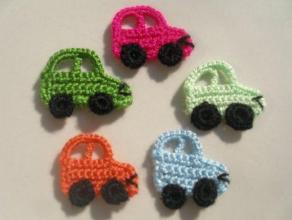 Crochet  APPLIQUE lovely automobile... por zeynepmelis en Etsy