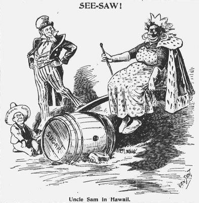 """SEE-SAW! Uncle Sam in Hawaii."" In this cartoon Uncle Sam ..."