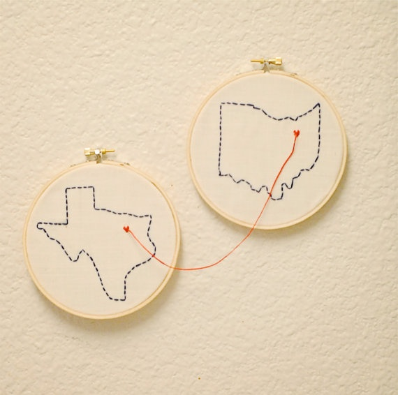 Customized State Embroidery Hoop Art Going Away by GreySkiesBlue, $39.00