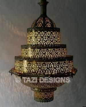 This Large Moroccan Chandelier Is Hand Made With Heavy Gauge Brass