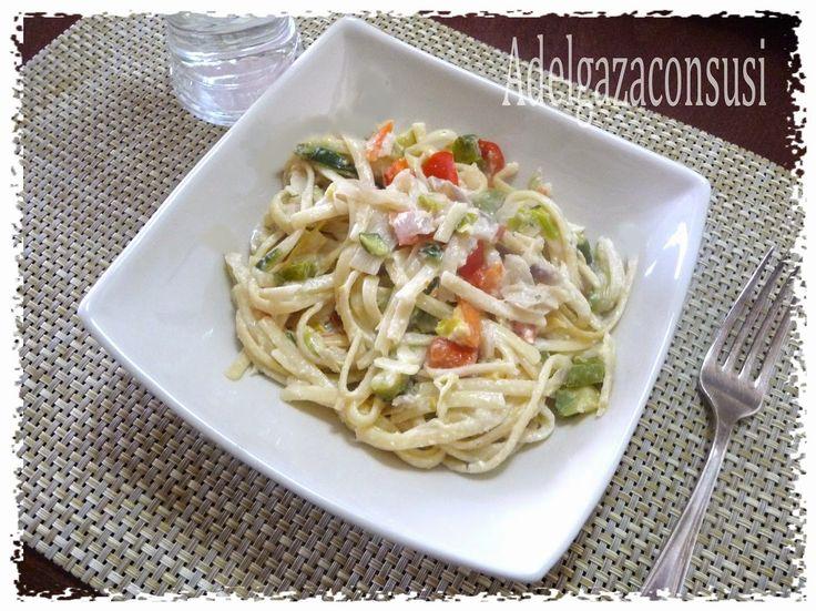Recetas Light - Adelgazaconsusi: Tallarines con verduras y queso Philadelphia light ( 280kcal)