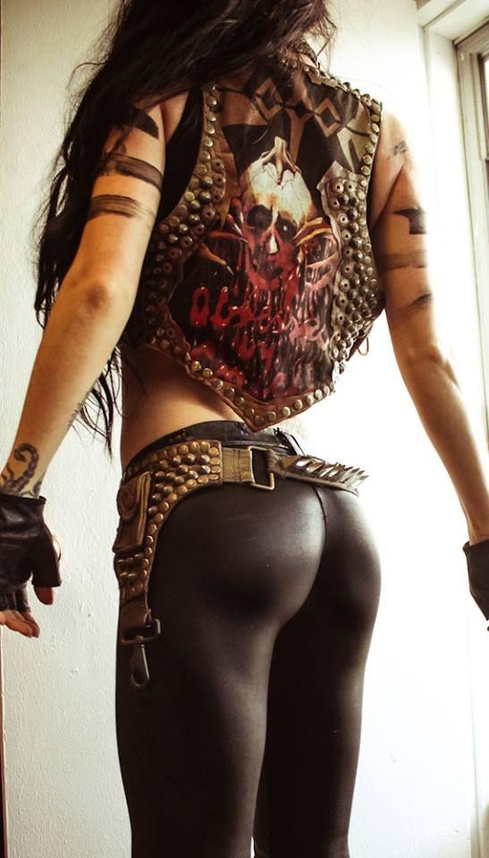 Chic Punk Rock Rocker Fashion Leggings Leather Vest Jacket Pantera