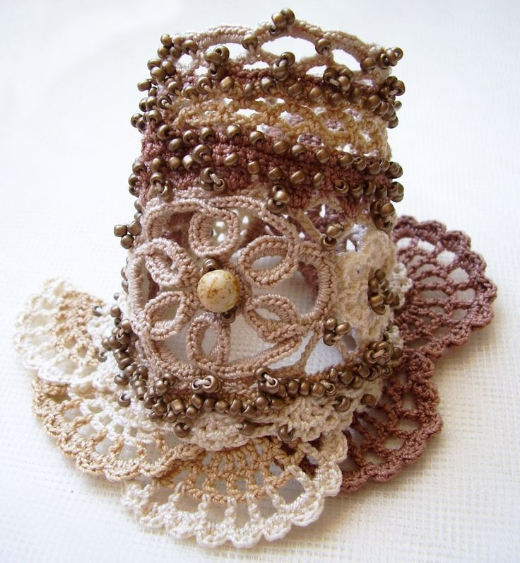 Crochet boho cuff, Cuff bracelet, Beaded cuff, Irish crochet cuff, Crochet bracelet, Beige cuff, Gemstone cuff, Crochet cuff, Handmade cuff by KSZCrochetTreasures on Etsy