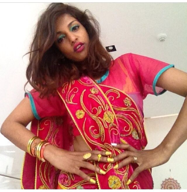 "Here is M.I.A. ""My true crush"" dressed in a sari"