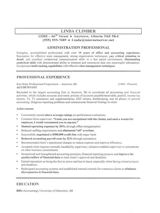 sample job resumes administration resume