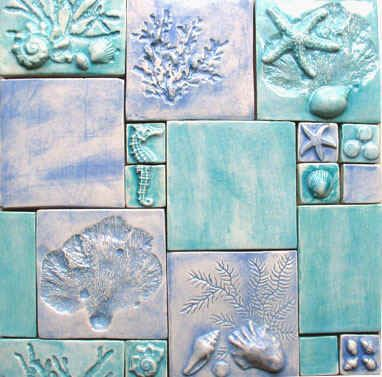 Custom Ceramic Bas Relief Art Tiles Featuring Sealife Or