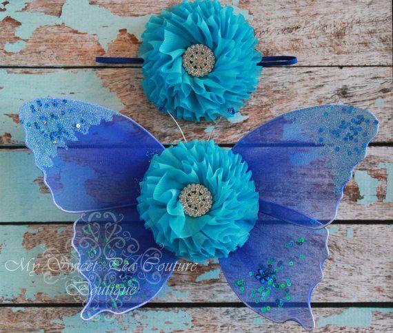 Ocean Blue Butterfly Wing Set Newborn Baby by MySweetPeaCouture