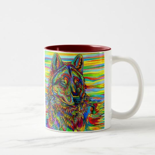 Psychedelic Rainbow Wolf mug by Rebecca Wang on Zazzle. Plain white mugs are so boring.  Drink your coffee or tea in style with these colorful and unique mugs!  Available in multiple styles and colors.
