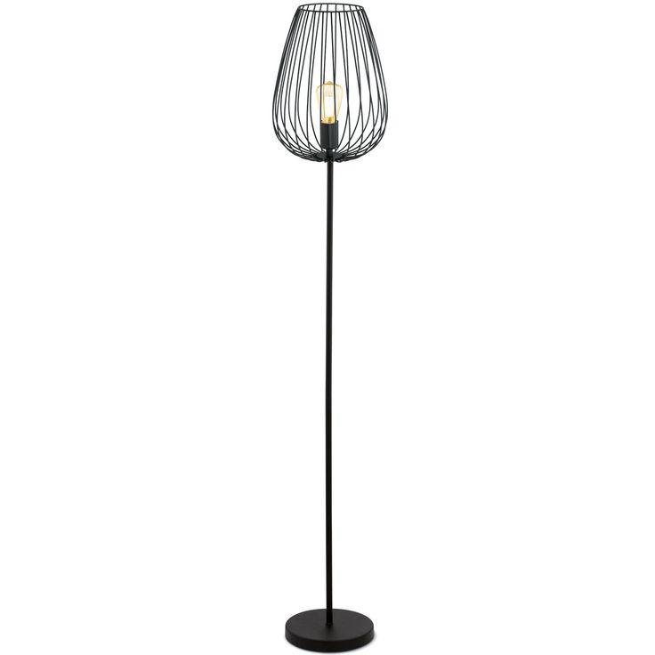 Lámpara de pie de diseño con bombilla vista fabricada en acero lacado en negro. Una lámpara Urban 100% perfecta para añadir elegancia y sofisticación a tu salón.  Tiene una altura de 159cm y un diámetro de 23cm en la base y de 27,5 en la parte más ancha de la tulipa.