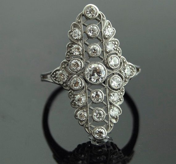 Antique Diamond RIng  Platinum with 21 European by SITFineJewelry
