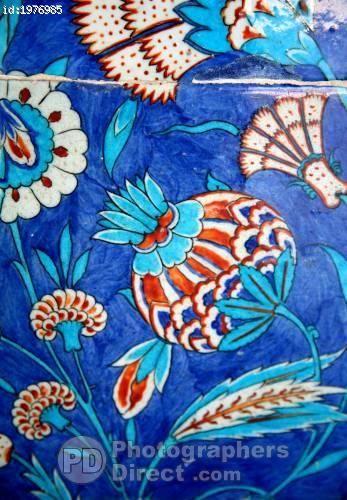 opium poppy tile work rustem pasha mosque istanbul stock photo