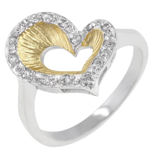 Two-Tone Heart Ring  Price:  US$35.99  White Gold Rhodium and 14k Gold Bonded Ring with Round Cut Clear CZ in a Prong Setting in Silver and Gold tone