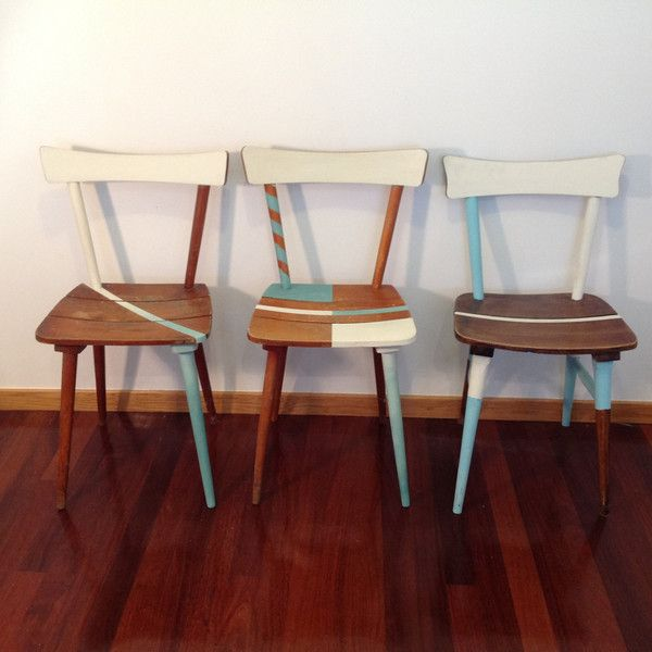 dining chairs shabby chic chairs vintage chairs midcentury chairs turquoise chairs