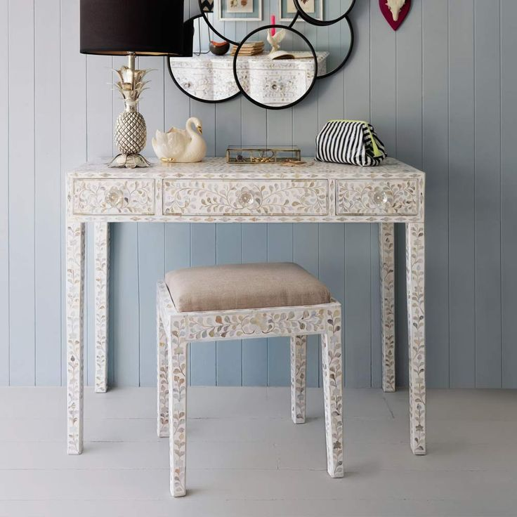 White Mother of Pearl inlay console table £795 and stool £325