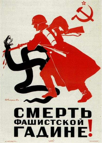 Death to the Fascist Beast; Soviet Union propaganda.