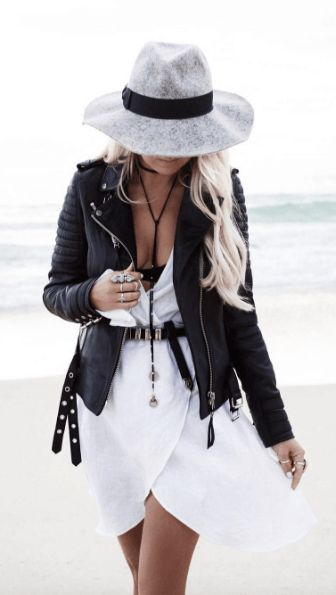 #summer #fashion / dress + leather