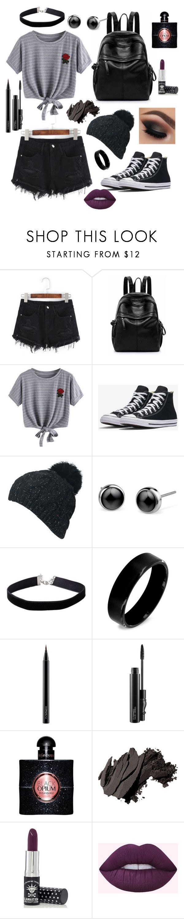 """Blackest Black"" by maddeyreed ❤ liked on Polyvore featuring WithChic, Miss Selfridge, West Coast Jewelry, MAC Cosmetics, Yves Saint Laurent, Bobbi Brown Cosmetics and Manic Panic NYC"