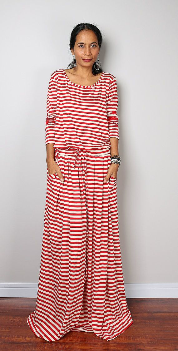 Striped dress Long Sleeve Maxi Dress Red and Cream от Nuichan
