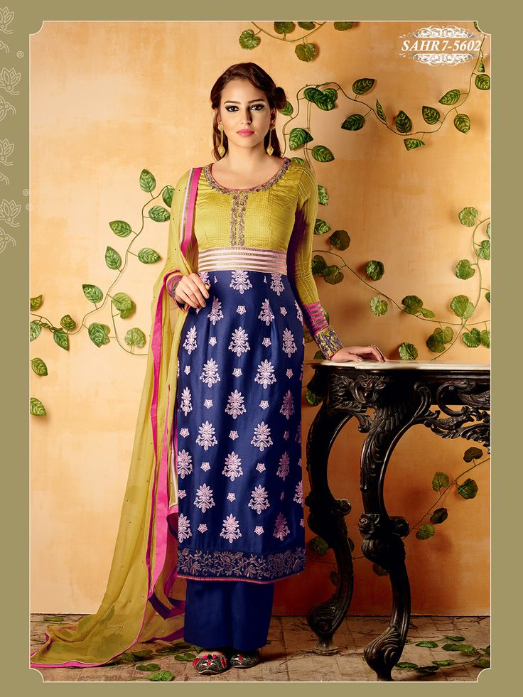 Shonaya Golden & Blue Colour Chiffon Embroidery Semi Stitched salwar Suit