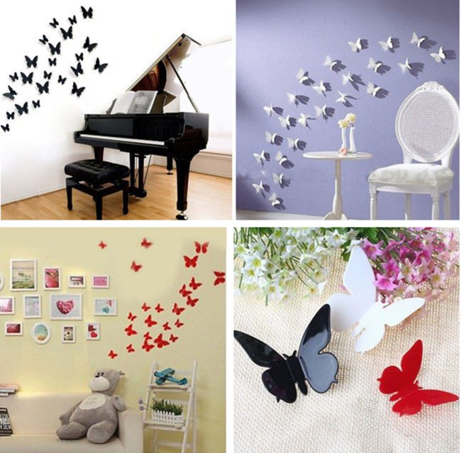 3D DIY Wall Sticker Stickers Butterfly Home Decor Room Decorations 12 PCS W87