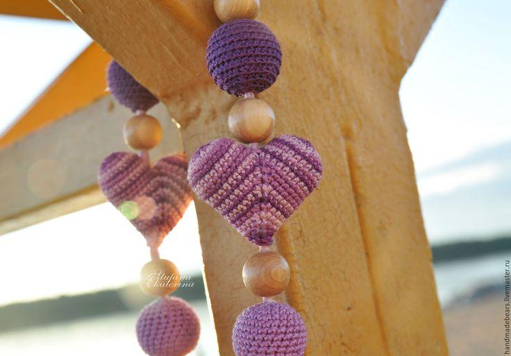 Купить Слингобусы Фиолетовые сердца - фиолетовый, однотонный, слингобусы, мишка, бусы для кормления, развивающая игрушка