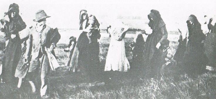 Boer War -- women and children being moved to a concentration camp