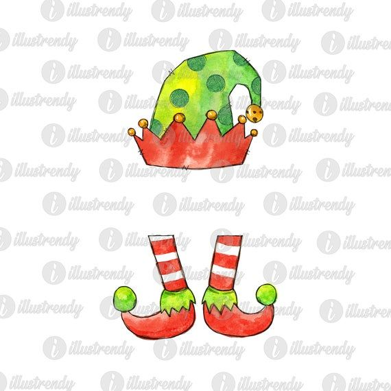 Elf Hat And Legs Sublimation Design Christmas Watercolor Png Etsy Elf Hat Christmas Prints Christmas Illustration