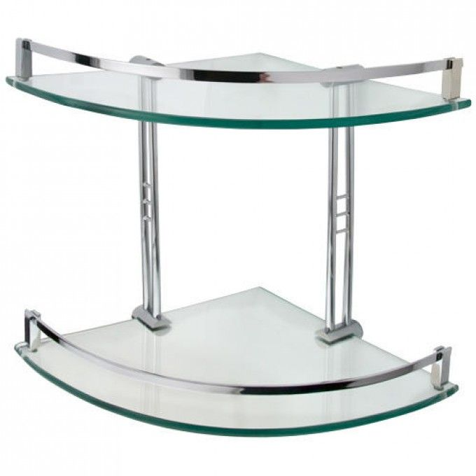 Gallery Website Engel Tempered Glass Corner Shelf Two Shelves