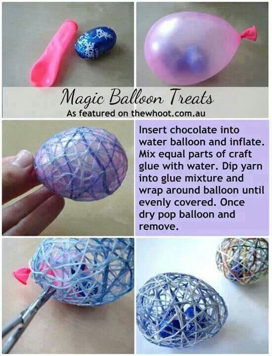 Easter Egg Treat...all you need is a water balloon, glue, water & candy