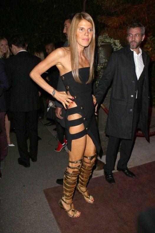 Anna-Dello-Russo cut out dress +  gladiator sandals