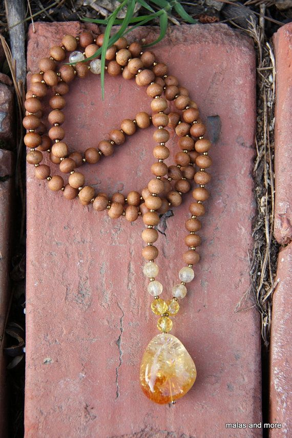 The Acceptance Mala - Citrine Sandalwood   Meditation Inspired Yoga Beads via Etsy