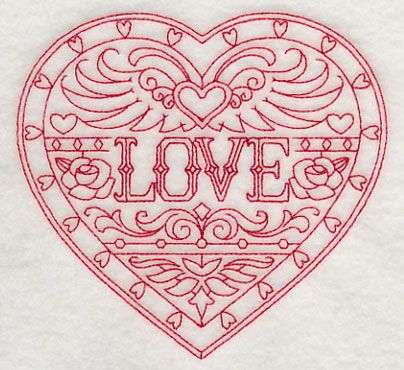 Love (Redwork) design (H9864) from www.Emblibrary.com