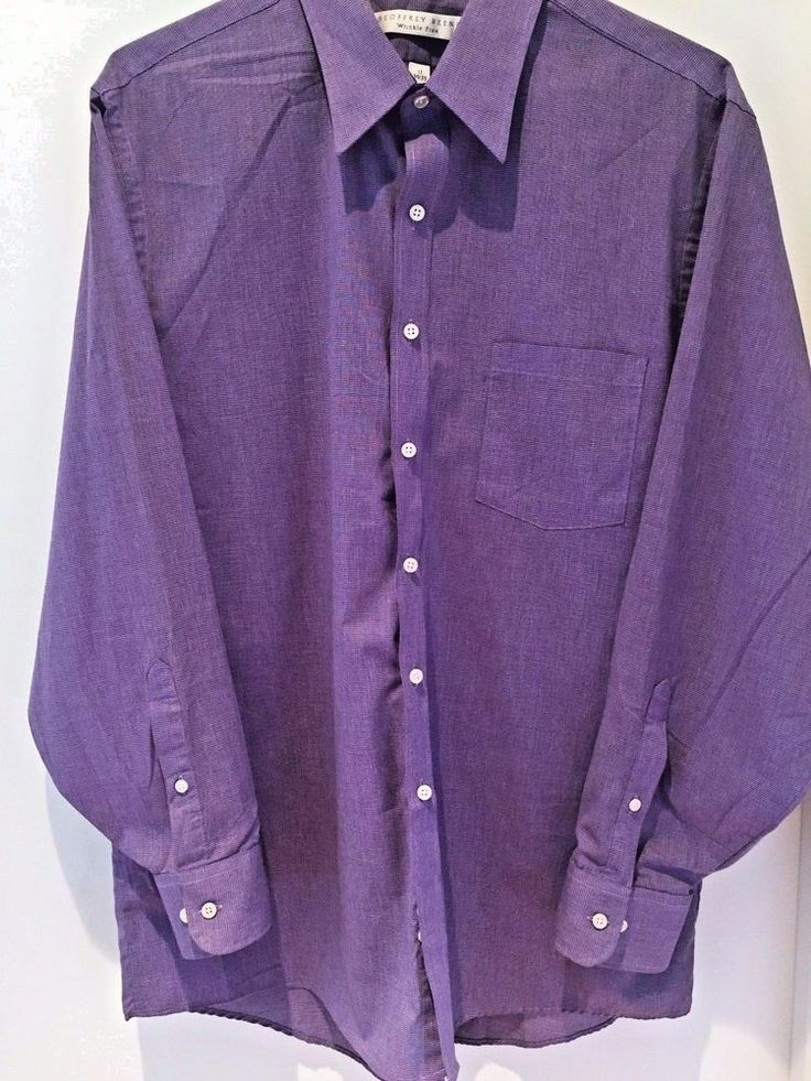 Geoffrey Beene Men's Regular Fit Sateen Purple Dress Shirt XL #GeoffreyBeene