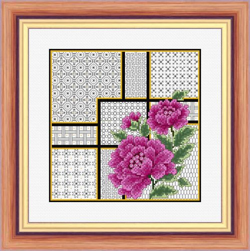 Oriental Peonies and Blackwork - Aida Kit