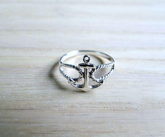 Silver anchor ring, nautical ring, nautical jewelry, sterling silver ring, silver stacking ring, dainty ring, sailor ring