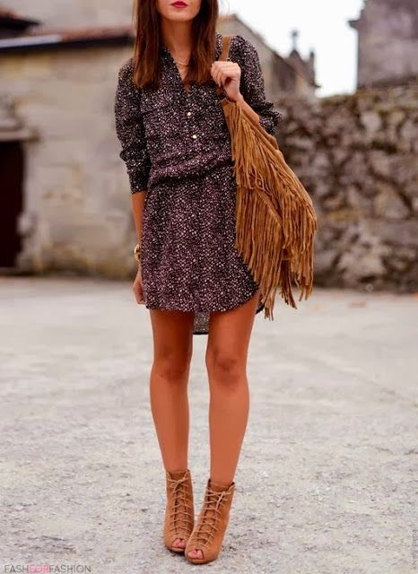 Boho Short Dress With Lace Up Sandals