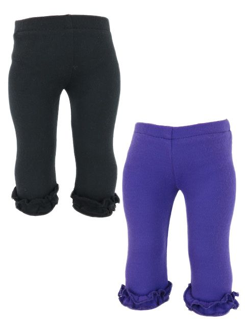 There's nothing like a little ruffle to dress up a plain pair of leggings.  They are made from cotton Lycra and simply pull on.    These leggings are long on the Baby Alive and Baby Born dolls and 3/4 length on the American and Australian Girl sized dolls.  Available in Purple or Black.
