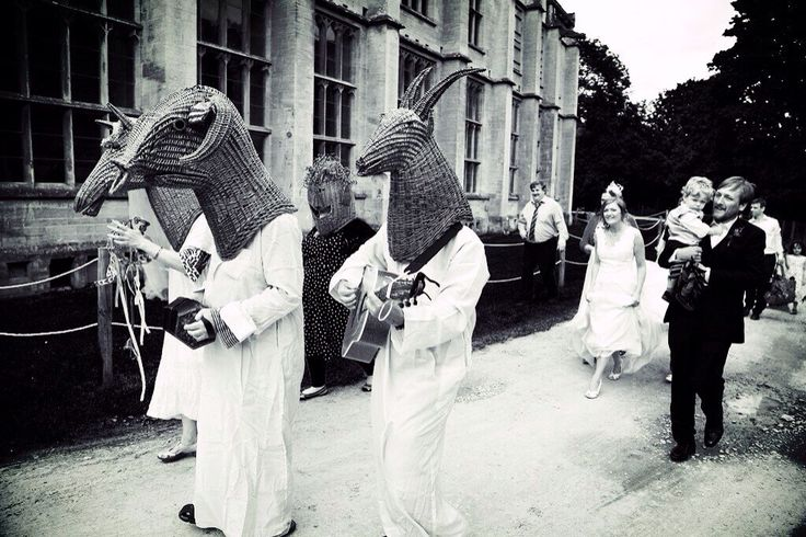 Wedding procession at Woodchester House (National Trust) Cotswolds