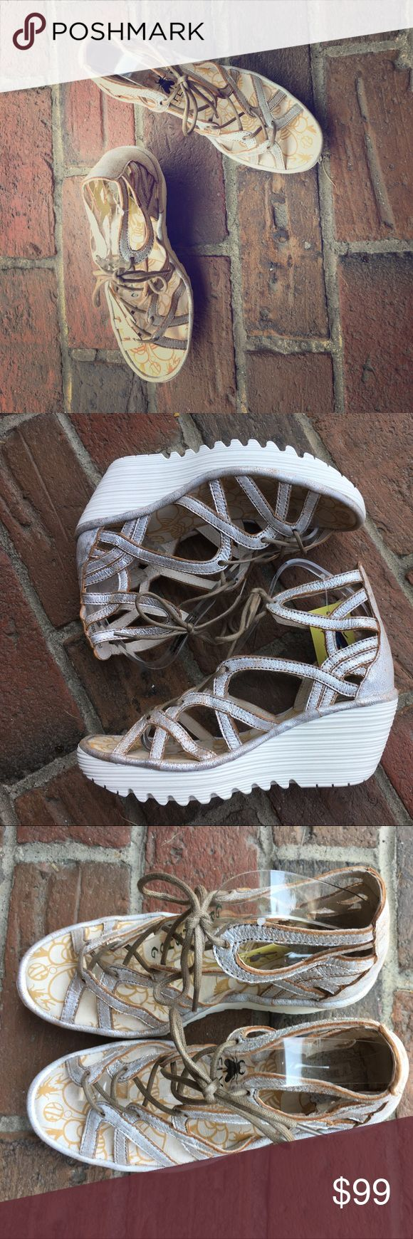"""Fly London Yuke Lace ups in pearl with 3"""" Wedge in white gorgeous in the foot and real Fly London comfort Fly London Shoes Sandals"""