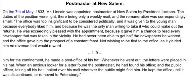 Postmaster Of New Salem Land Of Lincoln Pinterest