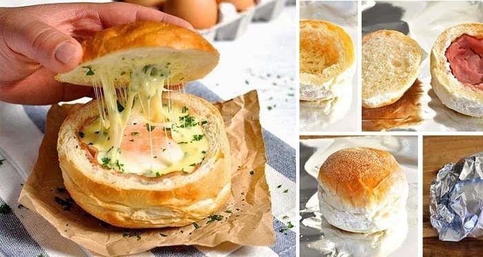 Horká houska plněná vajíčkem sýrem a šunkou | NejRecept.cz