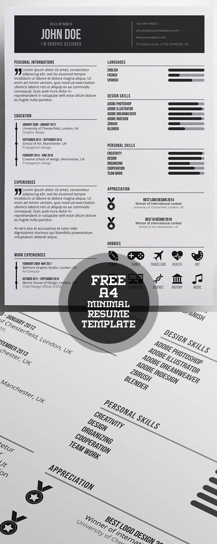 Free Minimal Resume Template #resume templates #coverletter #cvresume #freepsdfiles #freebies #minimalresume #portfoliopage