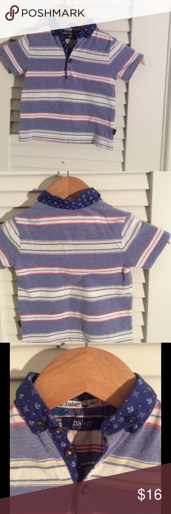 🦁🦁 Boys Baker by Ted Baker stripe knit. Just in time for Easter!!  Boys fancy stripe knit with nautical woven collar, from Baker by Ted Baker. Size 2Y.   All cotton m Baker by Ted Baker Shirts & Tops Polos