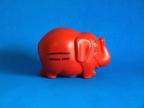 Commonwealth Savings Bank Red Elephant Money Box  by FunkyKoala