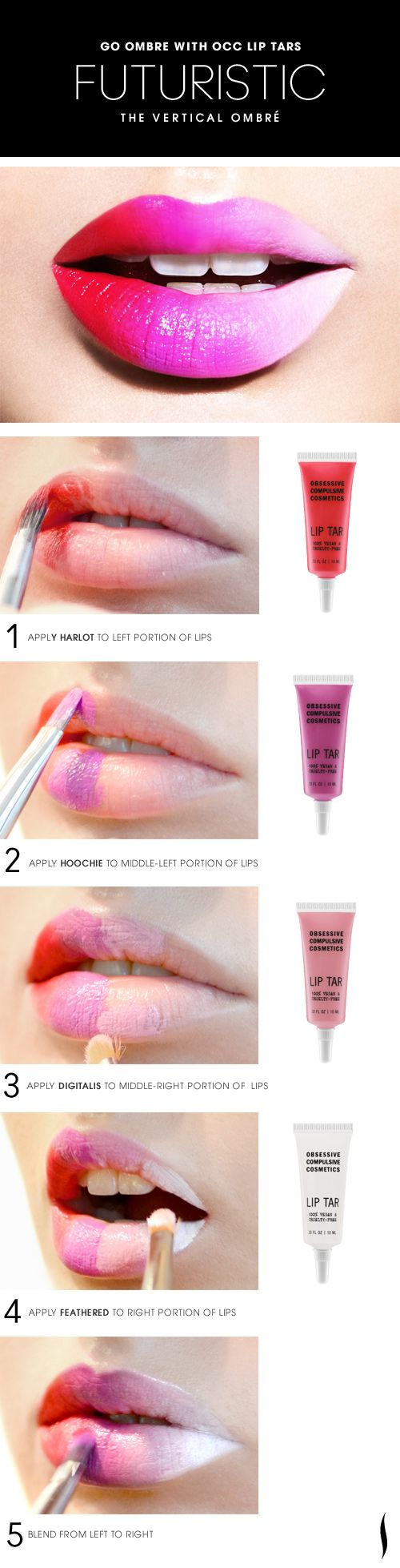 The Vertical Ombre Lip HOW TO. #OCC #Sephora #ombre #makeup || Find & buy more makeup from Sephora + 10% cash back http://www.studentrate.com/all/get-all-student-deals/Sephora-Student-Discounts--/0  #makeup #beauty #style