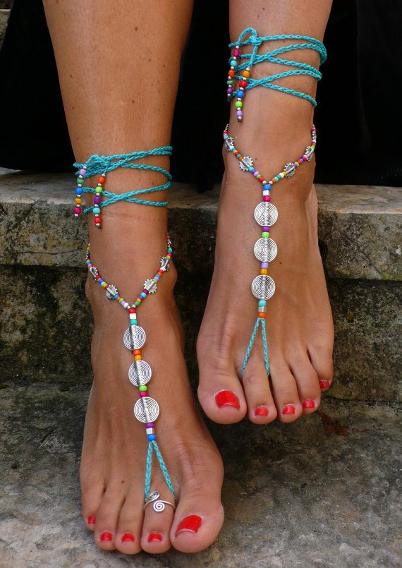 Turquoise SPIRAL BAREFOOT SANDALS foot jewelry hippie sandals toe ring anklet crochet barefoot tribal sandal festival beach ethnic yoga