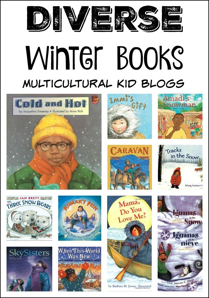 A collection of delightful winter books for children that include diverse characters.