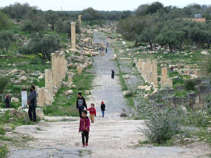 The Decumanus Maximus was once the main street of the ancient Roman city of Umm Qays (Gadara) in northern Jordan.