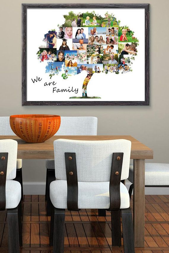 Family tree Christmas photo collage gift Personalized husband